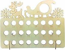 XIuginFU Schneeflocken-Adventskalender aus Holz,
