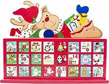 XIuginFU Weihnachtskalender aus Holz, bemalt mit