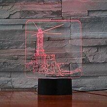 Xiujie 3D Nachtlicht Leuchtturm 7 Farbe Illusion