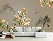 XiuTaiLtd Blumen- Und Vogeltintenlandschaft Seide