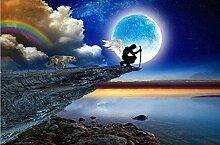 XiuTaiLtd Fototapete Moon Wolf Nacht Mauer Fresco