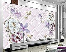 XiuTaiLtd Lila Weiße Blume Schmetterling Tapete