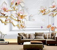 XiuTaiLtd Pink Magnolia Room Seide Tapete 3D