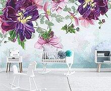 XiuTaiLtd Rosa Pflanzenblatt Blume Seide Tapete 3D