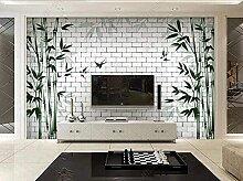 XiuTaiLtd Weißer Stein Ziegel Bambus Tapete 3D