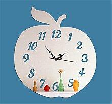 Xiuxiandianju Apple Abbildung Wanddekoration Uhr abnehmbare DIY Acryl 3D Spiegel Wand Aufkleber Wand Sticker Haus , silver