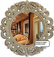 Xiuxiangianju Antike Spiegel kreativ retro geschnitzt Spiegel Badezimmerspiegel runden Spiegel die alte Goldschmiedekunst Durchmesser 51cm / 29cm Durchmesser der Linse zu tun , a