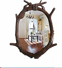 Xiuxiangianju Europa und die Vereinigten Staaten-Form Oval-Shaped kreative kreative Imitation Holz Baum Zweige Cha Cha Make-up Spiegel Dekoration Classic Style Badezimmer Spiegel (OY-367) , d , 60*85cm