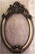 Xiuxiangianju European-style Amerikanisches Land-Hotel-Spiegel Ovaler an der Wand befestigter Spiegel-Badezimmer-Eitelkeit-Bad-Spiegel-Badezimmer-Spiegel Handgemachter Spiegel-Rahmen 44 * 67cm Spiegel 31.5 * 41cm (OY-017) , e , product size 44*67cm