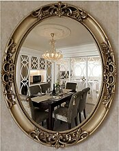 Xiuxiangianju European-Style Hirten-Antike-Spiegel, zum des alten Mittelmeeres zu tun Badezimmer-Spiegel Wand-angebrachter dekorativer Schönheits-Spiegel Badezimmer-Spiegel Handgemachter grüner Harz-Rahmen 70 * 60cm Spiegel 57 * 45cm (OY-015) , old bronze figure , 70*60