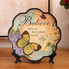 XIXI Ly Land Schmetterling Dekorative Ornamente / Kreative Retro Wackel Platte mit Gemalten Dekorationen-C,C