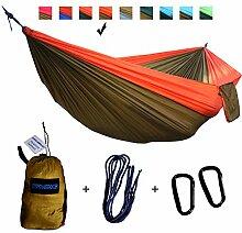 xiyoyo Camping Hängematte Parachute Nylon Single-Hängematte mit Seilen, Karabiner 441lb Kapazität 108x 139,7cm Garten einfachen Aufhängen Gear für Rucksackreisen Überleben, Reisen, Orange/Braun