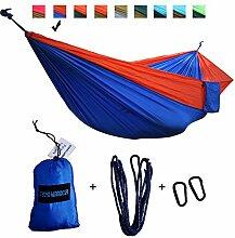 xiyoyo Camping Hängematte Parachute Nylon Single-Hängematte mit Seilen, Karabiner 441lb Kapazität 108x 139,7cm Garten einfachen Aufhängen Gear für Rucksackreisen Überleben, Reisen, Orange/Royal Blue