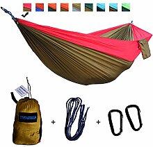 xiyoyo Camping Hängematte Parachute Nylon Single-Hängematte mit Seilen, Karabiner 441lb Kapazität 108x 139,7cm Garten einfachen Aufhängen Gear für Rucksackreisen Überleben, Reisen, rot / braun