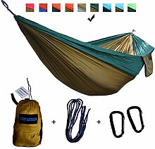 xiyoyo Camping Hängematte Parachute Nylon Single-Hängematte mit Seilen, Karabiner 441lb Kapazität 108x 139,7cm Garten einfachen Aufhängen Gear für Rucksackreisen Überleben, Reisen, Dark Green/Brown