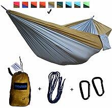 xiyoyo Camping Hängematte Parachute Nylon Single-Hängematte mit Seilen, Karabiner 441lb Kapazität 108x 139,7cm Garten einfachen Aufhängen Gear für Rucksackreisen Überleben, Reisen, Coffe Brown/Grey