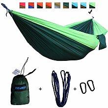 xiyoyo Camping Hängematte Parachute Nylon Single-Hängematte mit Seilen, Karabiner 441lb Kapazität 108x 139,7cm Garten einfachen Aufhängen Gear für Rucksackreisen Überleben, Reisen, Flourescent Green/Dark Green