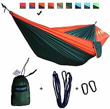 xiyoyo Camping Hängematte Parachute Nylon Single-Hängematte mit Seilen, Karabiner 441lb Kapazität 108x 139,7cm Garten einfachen Aufhängen Gear für Rucksackreisen Überleben, Reisen, Orange/Dark Green
