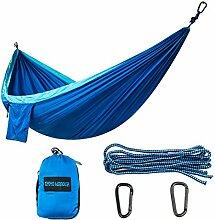 xiyoyo Nylon Fallschirm Hängematte Max 661LB Breaking 299,7x 200,7cm 2leicht Karabiner und 2starke Seile enthalten Große Größe für 2Person, Relax, königsblau