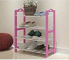 XJ Bamboo Schuh Regal Multi - Regal Indoor European Storage Shelf ( Farbe : Pink-62*24*73 )