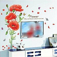 XJKLFJSIU Aufkleber Wohnzimmer Fernsehhintergrund Schlafzimmer Nachtwandaufkleber Wandaufkleber Blume Restaurant, J