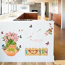 XJKLFJSIU Blumenvase Wandaufkleber Wohnzimmer Schlafzimmer Gartenzaun Wandaufkleber Küchenschränke Aufkleber, 86 * 55Cm