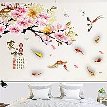 XJKLFJSIU Chinese Wind-Blumen-Aufkleber Wand Wohnzimmer Fernsehhintergrund Paste Schlafzimmerwandaufkleber , Foto Color