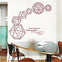 XJKLFJSIU Dreidimensionalen Würfel Restaurant, Wohnzimmer Wandtattoo Wandsticker Schlafzimmer Moderne Dekorative Wand-Aufkleber, Ro