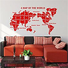 XJKLFJSIU Englisch Puzzle Weltkarte Wandaufkleber
