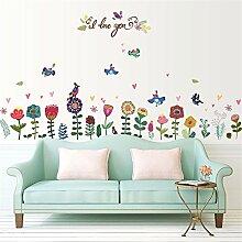XJKLFJSIU Farbe Handgemalten Blumen Und Vögel Fußleiste Wandaufkleber Küchenschränke Wand-Aufkleber, 193 * 95Cm