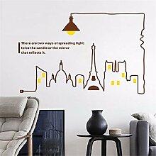XJKLFJSIU Große Kreative Lampe Wandaufkleber Büro Des Sofa Kulisse Schlafzimmer Nacht Wand Aufkleber Angebracht, Braun