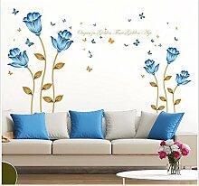 XJKLFJSIU Großer Aufkleber Blume Wand Wohnzimmer Schlafzimmer Nachtwandaufkleber Blume Wandaufkleber , H1