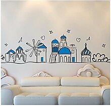 XJKLFJSIU Junge Schlafzimmeraufkleber Wand Wand Raum Fußleiste Aufkleber Wandaufkleber Flugzeugbau Leben, 155 * 43Cm