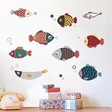 XJKLFJSIU Kinder Zimmer Schlafzimmer Tapeten Cartoon Fisch Wandsticker Aufkleber Kinderzimmer, Bilder