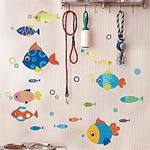 XJKLFJSIU Kinder Zimmer Schlafzimmer Wandsticker Fisch, Wand, Bad Badezimmer Dekoration kostenlose niedlichen Aufklebern, medium