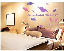 XJKLFJSIU Nacht Schlafzimmer Aufkleber Wand Wohnzimmer Wandaufkleber Wandaufkleber Lila Federn, 150 * 100Cm