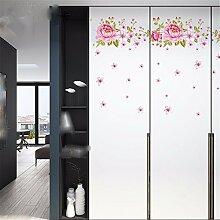 XJKLFJSIU Schlafzimmerschrank Türschrank Küche Wandaufkleber Wandaufkleber Kühlschrank Rosa Blumen-Wand-Aufkleber, 115 * 60Cm