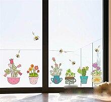 XJKLFJSIU Wohnzimmer Balkonfenster Wandaufkleber Schlafzimmerwandaufkleber Fenster Farbtöpfe Wand-Aufkleber, 115 * 48Cm