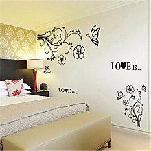 XJKLFJSIU Wohnzimmer Sofa Tv Hintergrund Wand Dekoration Aufkleber Schlafzimmer Wandsticker, Schwarz