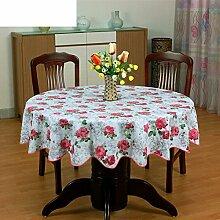 XKQWAN PVC Runde Tischdecke Runde Tischdecke Für Hotels Wasserdicht ?lbest?ndig Wegwaschen Anti-hot Hausgebrauch Kunststoff Runde Tischdecke Tabelle Tuch-C Durchmesser152cm(60inch)