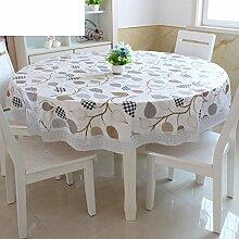 XKQWAN PVC Tischdecke Runde Tischdecke Für Hotels Wasserdicht ?lbest?ndig Wegwaschen Anti-hot Home Plastik Tischdecke Runde Tischdecke-E Durchmesser137cm(54inch)