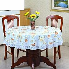 XKQWAN PVC Tischdecke Runde Tischdecke Für Hotels Wasserdicht ?lbest?ndig Wegwaschen Anti-hot Home Plastik Tischdecke Runde Tischdecke-W Durchmesser180cm(71inch)
