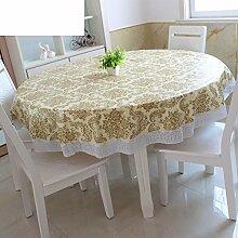 XKQWAN PVC Tischdecke Runde Tischdecke Für Hotels Wasserdicht ?lbest?ndig Wegwaschen Anti-hot Home Plastik Tischdecke Runde Tischdecke-A Durchmesser137cm(54inch)