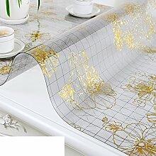 XKQWAN Pvc Weichglas tischdecke Teetisch matten Wasserdicht Durchsichtige Crystal platte tischsets Wasserdicht Anti-verbrühende isolierte spitze ?lbeweis tischdecke-C 70x135cm(28x53inch)