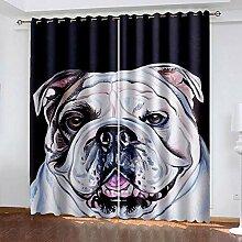 XKSJWY Vorhang Blickdicht 3D Cartoon-Tierhund