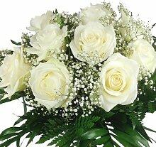 XL Blumenstrauß weiße Rosen - Aufgebunden mit