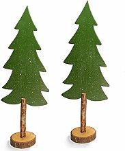 XL Deko Tannenbaum Set aus Holz 75 cm 2 Stück Dekoration Weihnachtsbaum Holzbaum