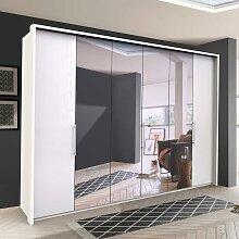 XL Falttürenschrank mit Spiegel Weiß