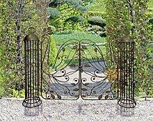 XL Garten Tor Pforte Metall Flügel Tor Vintage Style - hochwertige Gartenpforte mit dekorativen Ornamente - Doppeltes Flügel Tor aus Metall in Retro Optik mit Rank Hilfe