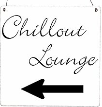 XL Holzschild CHILLOUT LOUNGE [ LINKS ] Garten